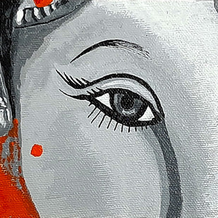 Ganesha by Tejal Bhagat, Expressionism Painting, Acrylic on Canvas, Silver Sand color