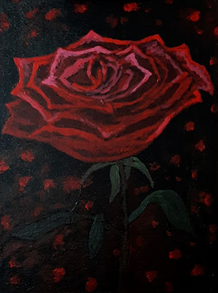 Red Rose Digital Print by Tejal Bhagat,Expressionism