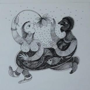 Enjoy by Rakhee Kumari, Illustration Drawing, Ink on Paper, Hit Gray color