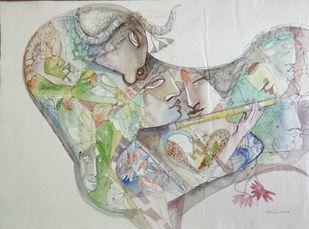 The Nandi by Madan Lal, Fantasy Drawing, Acrylic on Canvas, Kangaroo color