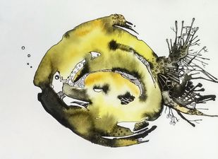 Fish D by Anamika S, Illustration Painting, Watercolor & Ink on Paper,