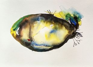 Fish C by Anamika S, Illustration Painting, Watercolor & Ink on Paper,