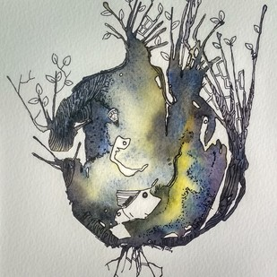 Nature During Corona 3 by Anamika S, Illustration Painting, Watercolor & Ink on Paper,