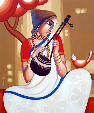 BAUL 13 by Sekhar Roy, Decorative Painting, Acrylic on Canvas,