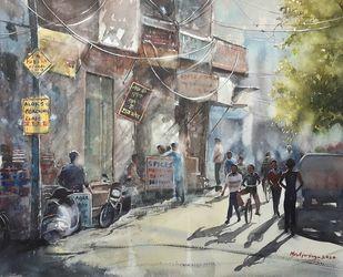 Twilight in marketarea by Mrutyunjaya Dash, Impressionism Painting, Watercolor on Paper,