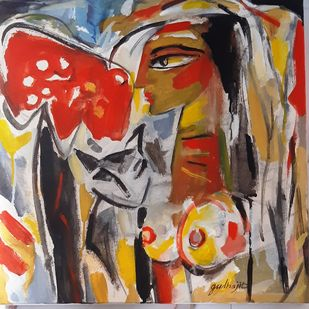 Girl with the cat by Judhajit Sengupta, Expressionism Painting, Tempera on Canvas,