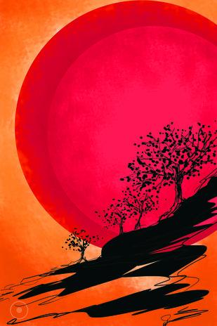 Sun by Leya Srinivas, Digital Digital Art, Digital Print on Canvas,