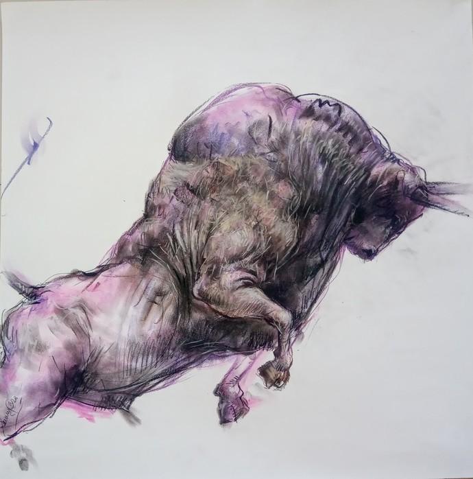 Bull 105 by Saumya Bandyopadhyay, Illustration Painting, Dry Pastel on Paper,