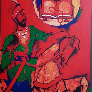 SIKHISM -THEORAMA by M F Husain, Expressionism Serigraph, Etching & Serigraph,