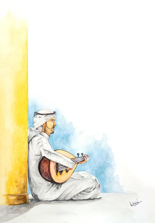MAN WITH A MANDOLIN by HULLAS JAIN, Impressionism Painting, Watercolor on Paper, Green White color