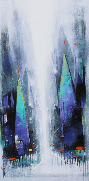 Street of Banaras by Somnath Bothe, Abstract Painting, Acrylic on Canvas,