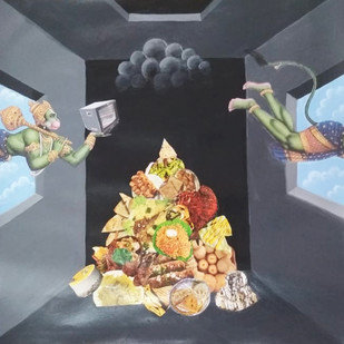 Hanuman in a loop hole by Arpan Ghosh, Fantasy Painting, Acrylic on Paper,