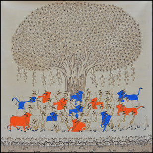 Beautiful Cows With Grey Scale by Unknown Artist, Folk Painting, Stone Colour on Cloth,
