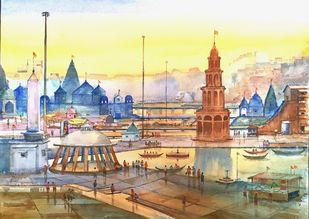 Godavari Darshan Nashik. : I by Ananda Ahire, Impressionism Painting, Watercolor on Paper,