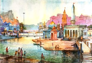 Ramkund Nashik by Ananda Ahire, Impressionism Painting, Watercolor on Paper,