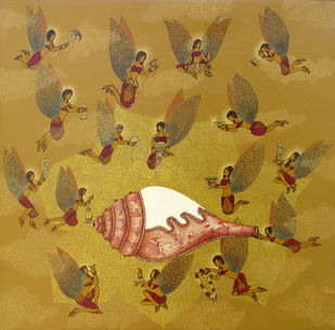 Sukh Aur Sammridhi by Shalini Anand, Conceptual Painting, Acrylic on Canvas,
