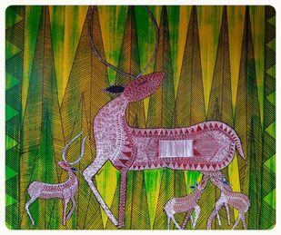 Folk Art by Taznin Rahman , Decorative Painting, Acrylic on Acrylic Sheet, Thatch Green color