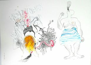 We are by Sudatta Basu, Illustration Drawing, Mixed Media on Paper,