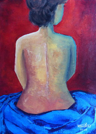 The lady by Mallika Seth, Expressionism Painting, Acrylic on Canvas,