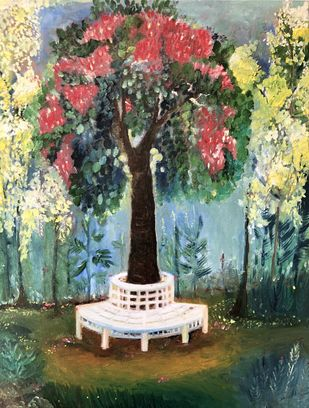 Portrait of a Tree by Sangeeta B. Sahay, Expressionism Painting, Oil on Canvas,