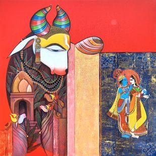 Nandishwara by Ashok Rathod, Decorative Painting, Acrylic on Canvas,