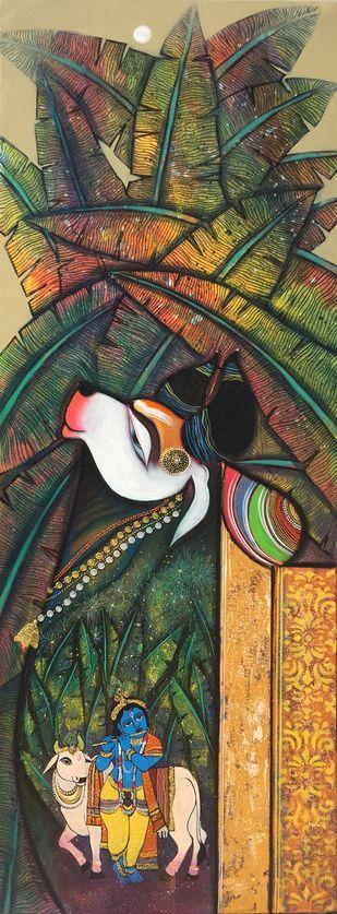 Kamdhenu by Ashok Rathod, Expressionism Painting, Acrylic on Canvas,