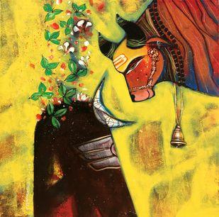 Nandishwara by Ashok Rathod, Traditional Painting, Acrylic on Canvas,