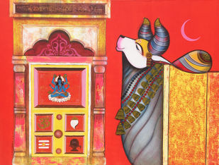 Nandishwara by Ashok Rathod, Expressionism Painting, Acrylic on Canvas,