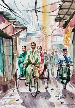 Old Hyderabad City by rajendra ray, Impressionism Painting, Watercolor on Paper,