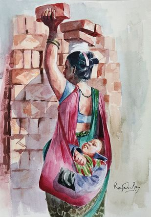 Another side of the city by rajendra ray, Impressionism Painting, Watercolor on Paper,