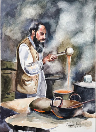 Hyderabadi Irani Chai Shop by rajendra ray, Impressionism Painting, Watercolor on Paper,