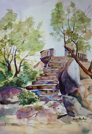 Gandipet lake Viewpoint, Hyderabad by rajendra ray, Impressionism Painting, Watercolor on Paper,