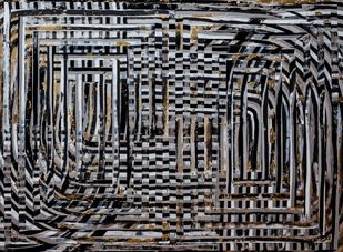 Lost Land by Andrew Strassner, Geometrical Painting, Mixed Media on Wood,