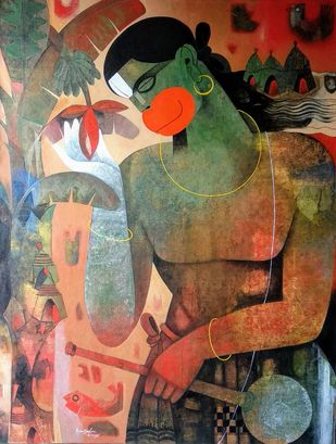 hanuman with banana flower by Appam Raghav, Expressionism Painting, Acrylic on Canvas,