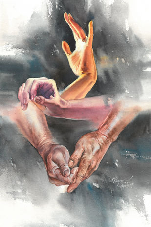 Hands are beautiful People by Moshe Dayan, Impressionism Painting, Watercolor on Paper,