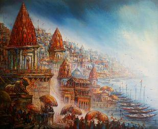 Banaras by Ananda Das, Impressionism Painting, Acrylic on Canvas,