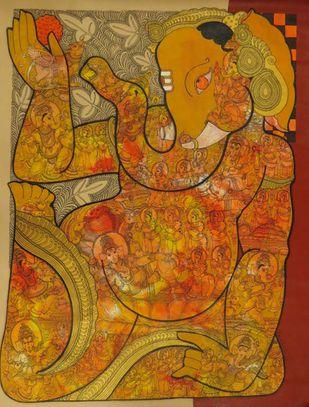 Ganesh JI by Ramesh Gorjala, Traditional Painting, Mixed Media on Canvas,