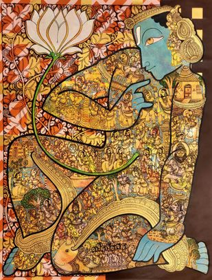 Vishnu by Ramesh Gorjala, Traditional Painting, Mixed Media on Canvas,