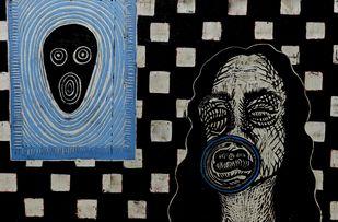"'Bol ke labz azaad hay terey"" by Portia Roy, Surrealism Painting, Mixed Media on Wood, Regent Gray color"