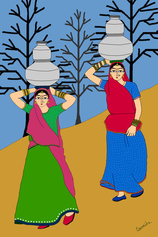 The water wives by Susmita Mishra, Digital Digital Art, Digital Print on Archival Paper,