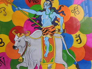 om by KAJAL PANCHAL, Expressionism Painting, Acrylic on Paper, Raw Sienna color