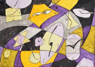 The Time Digital Print by JEETENDRA KUMAR,Cubism