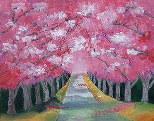 Cherry Blossom Digital Print by Tejal Bhagat,Expressionism