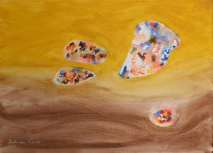 Invaluables-I by JEETENDRA KUMAR, Expressionism Painting, Watercolor on Paper, Copper color
