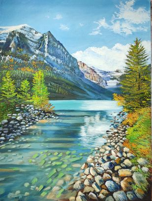 Lake Louise by Dipali Samant , Expressionism Painting, Oil on Canvas Board, Sea Nymph color