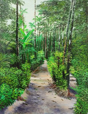 Konkan by Dipali Samant , Photorealism Painting, Oil on Canvas Board, Dingley color