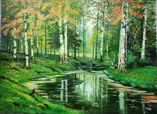 Forest by Dipali Samant , Impressionism Painting, Oil on Canvas Board, Chalet Green color