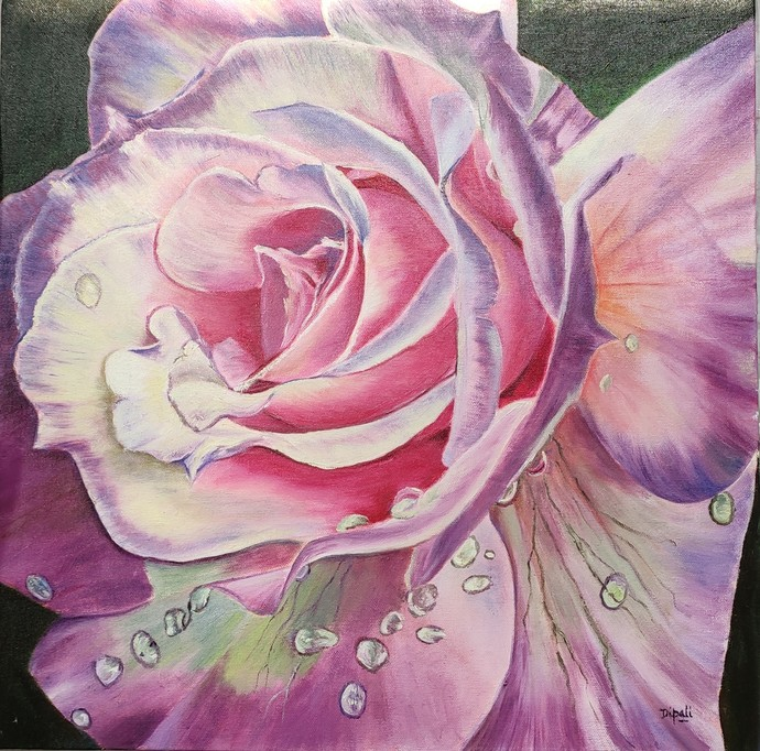 Rose by Dipali Samant , Expressionism Painting, Oil on Canvas Board, Bouquet color