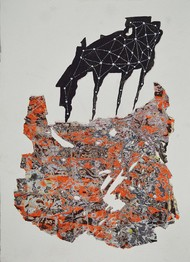 Trojan by Viraag Desai, Expressionism Painting, Mixed Media on Paper, Dune color