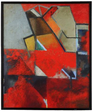 Untitled by Bhagwan Chavan, Geometrical Painting, Oil on Canvas, Thunder color